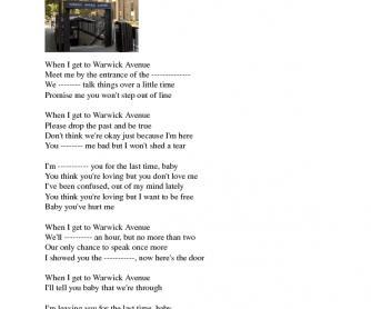 Song Worksheet: Warwick Avenue by Duffy (WITH VIDEO)