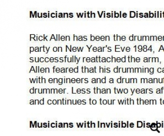 Musicians With Disabilities - Comprehension Worksheet