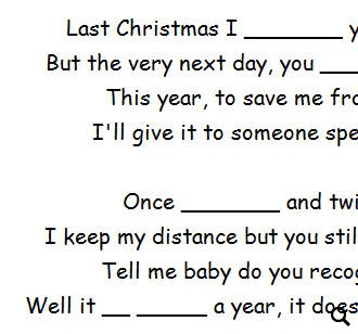 Worksheet: Last Christmas by Cascada (WITH VIDEO)