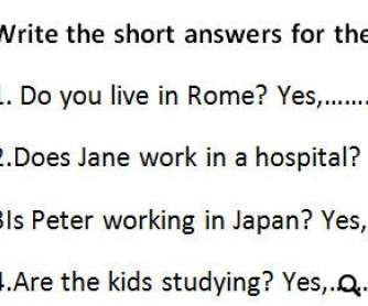 Short Answers Practice