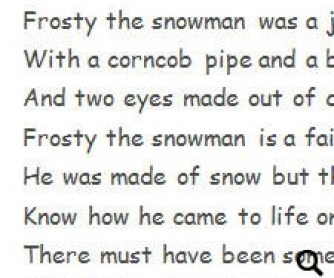 "Song Worksheet ""Frosty the Snowman"""