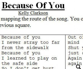 Song Worksheet: Because Of You by Kelly Clarkson + Because by The Beatles