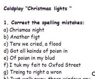 "Song Worksheet ""Christmas Lights"" by Coldplay (WITH VIDEO)"