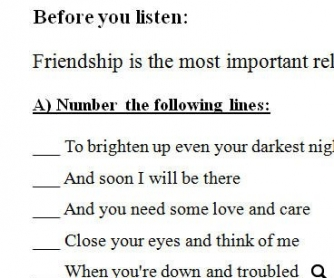 Song Worksheet: You've Got a Friend by Carole King (WITH VIDEO)