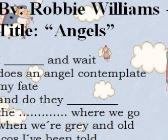 Song Worksheet: Angels by Robbie Williams (WITH VIDEO)