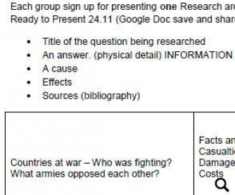 World War 1 Context Research Grid
