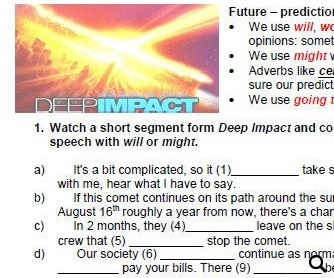 Movie Worksheet: Predictions About the Future - Will, Might, Going to [Deep Impact]