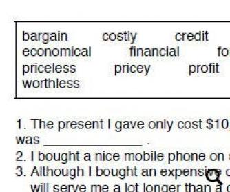 Money and Finance Worksheet