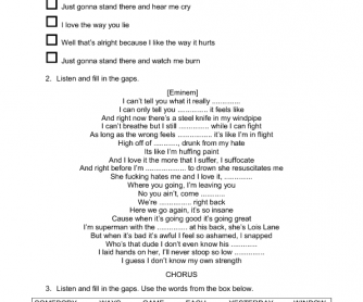 Song Worksheet: Love the Way You Lie by Rihanna ft. Eminem [WITH VIDEO]