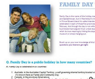 Family Day Trivia Questions