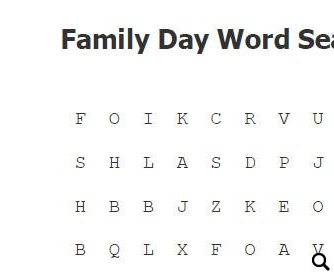 Elementary Family Day Word Search