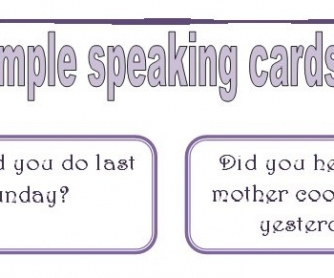 Past Simle Speaking Cards: Set 1