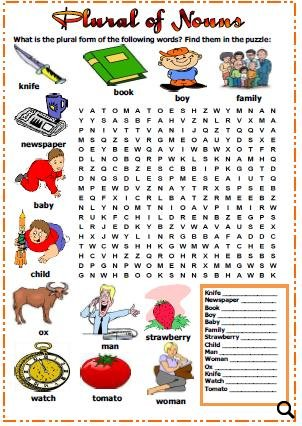 Word search puzzle to practise regular and irregular plural forms of ...