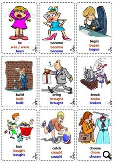 4873 Irregular Verbs Flashcards on Bingo Worksheets Template