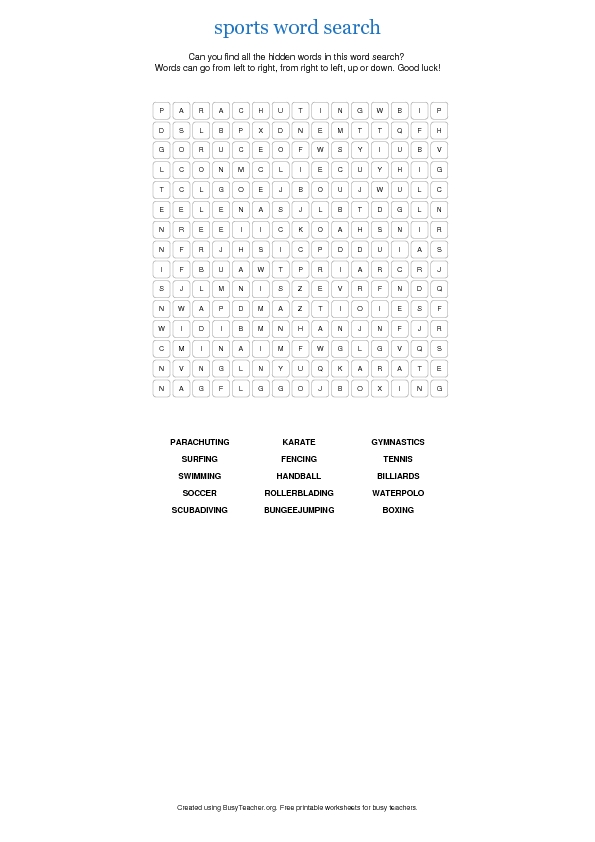 photo regarding Sports Word Search Printable referred to as Athletics Term Seem