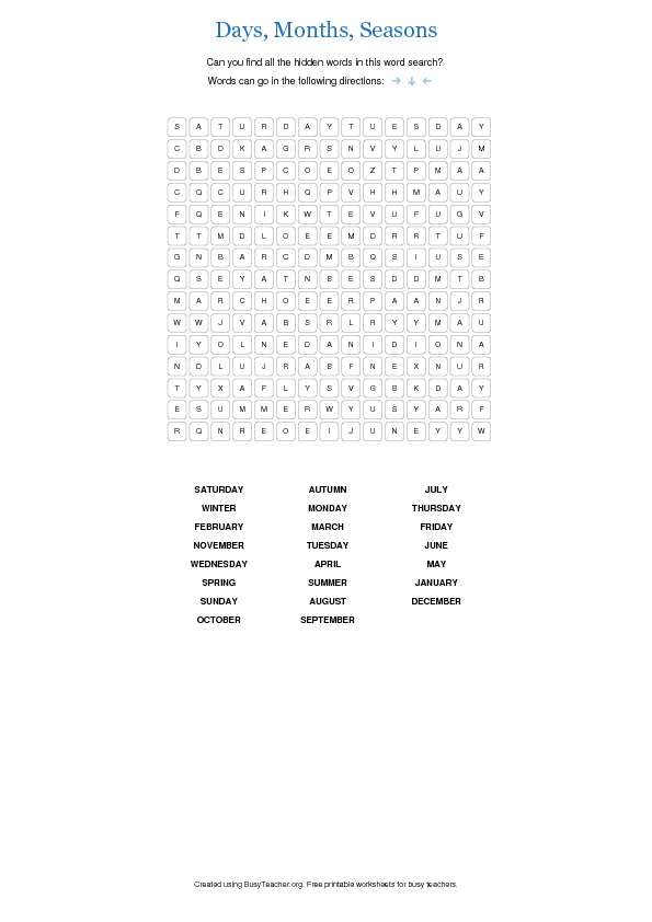 Days, Months, Seasons Word Search