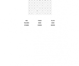 Simple Present 3rd Person Singular Word Search