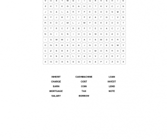 Money and Finance Intermediate Word Search