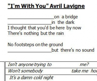 Song Worksheet: I'm With You by Avril Lavigne [WITH VIDEO] alternative