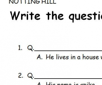 Movie Worksheet: Notting Hill