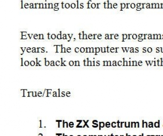 Reading Comprehension: The ZX Spectrum