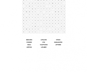 Cosmetics Word Search