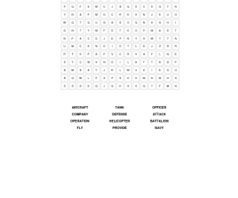 Military Vocabulary Word Search