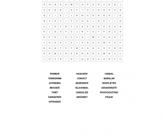 Crime and Punishment Word Puzzle (Intermediate)