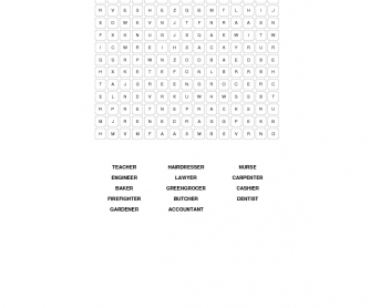 Professions and Occupations Wordsearch