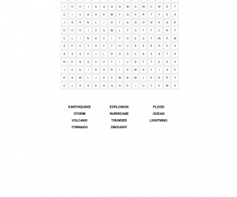 The Power of Nature: Disasters Word Search