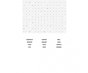 Food Elementary Word Search