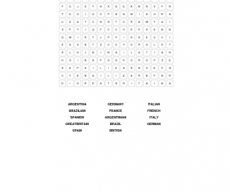 Countries and Nationalities Elementary Word Search