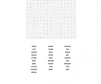 Past Participle Wordsearch