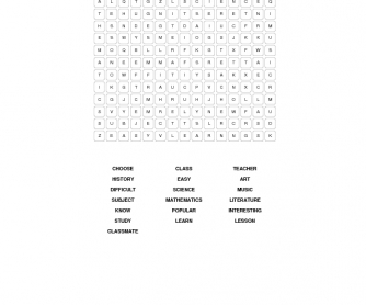 School Vocabulary: Elementary Word Search