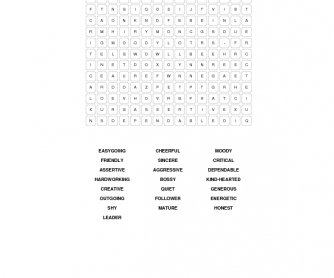 Personality Word Search
