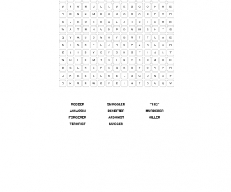 Crime and Punishment Word Search