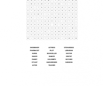 Jobs And Professions Word Search