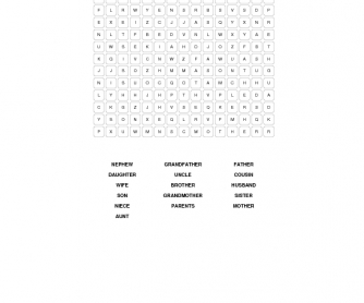 Relatives Word Search