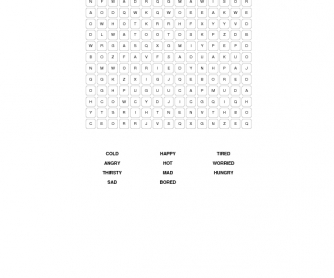 Feelings and Emotions: Beginner Word Search