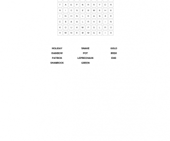 St.Patrick's Day Elementary Word Search