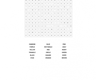 Shapes and Colors Word Search