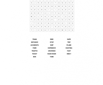Transport Word Search: 20 Words