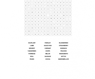 Meals Word Search