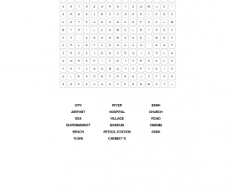Places Vocabulary Word Search