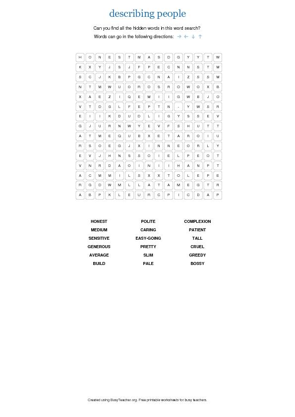word describing puzzle appearance description intermediate character vocabulary personality pre busyteacher