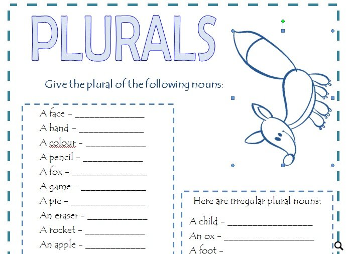 An activity to practice plural form of nouns. There are two exercises ...