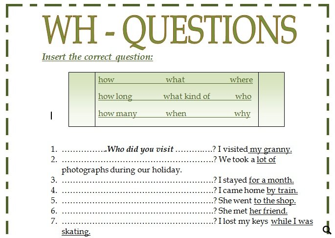 Printables Wh Questions Worksheets wh questions