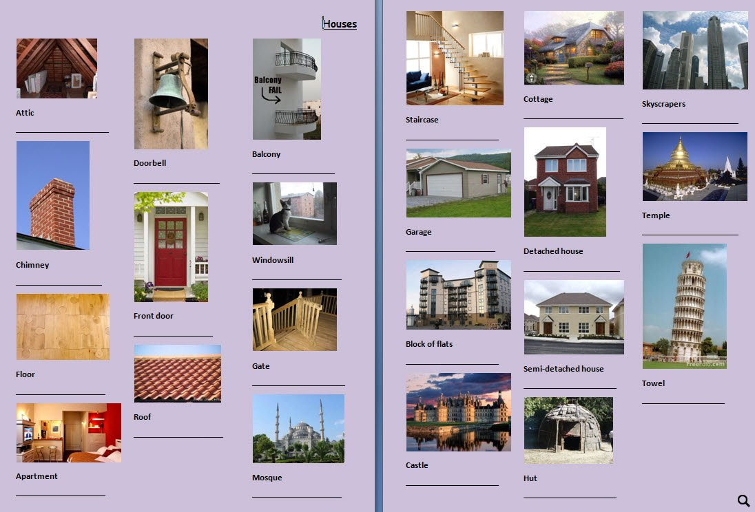 Picture dictionary houses for Kinds of houses