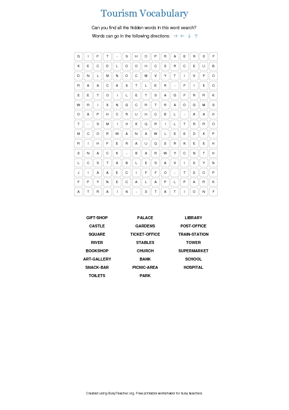 Tourism Vocabulary Word Search