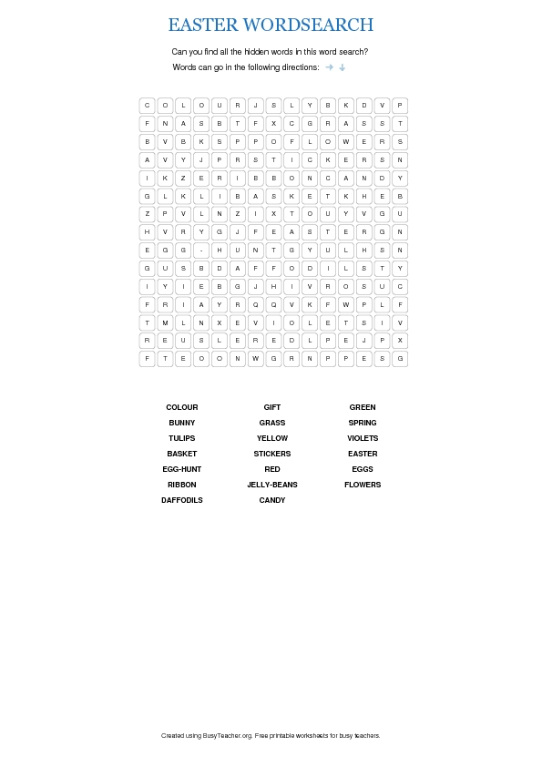 graphic about Printable Easter Wordsearch referred to as Easter WordSearch Puzzle